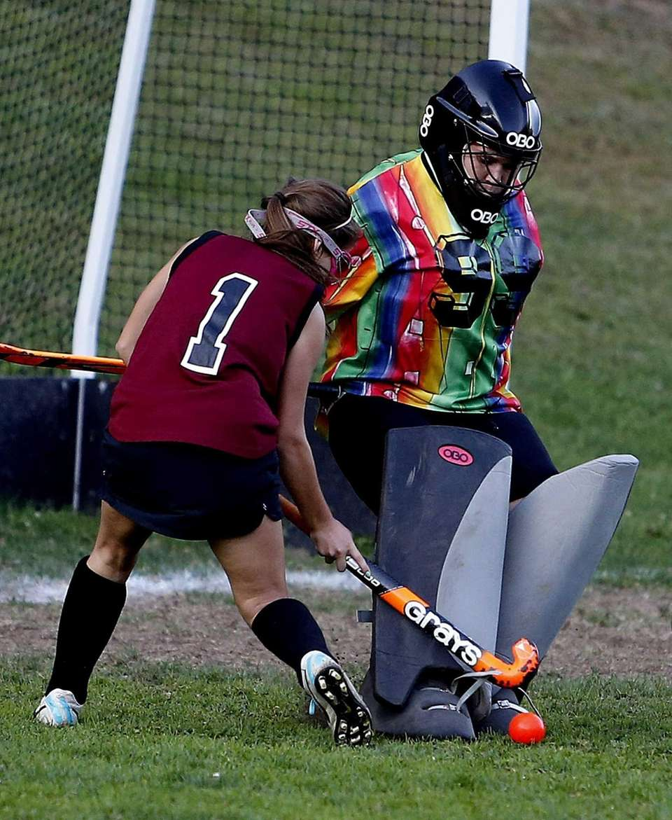 Port Jefferson goalie Tammy Serabian stops a point-blank