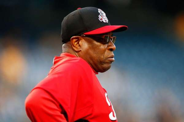 Manager Dusty Baker of the Cincinnati Reds looks