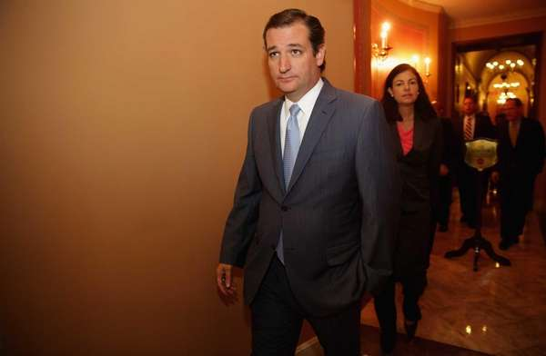 Sen. Ted Cruz leaves a Republican Senate caucus