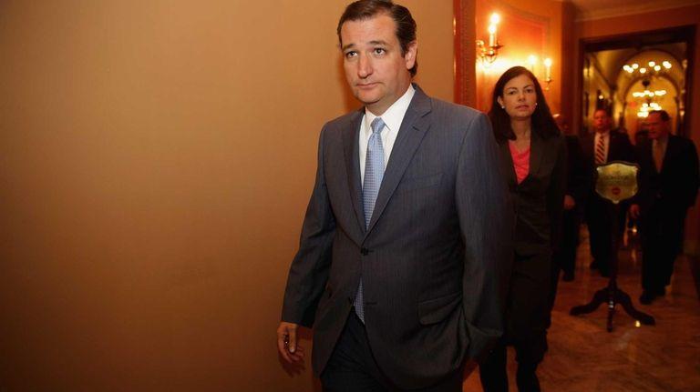 Sen. Ted Cruz leaves a Republican Senate caucus