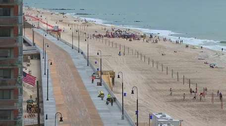 A view of Long Beach's partially reopened boardwalk.