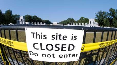 A closure sign at the front of the