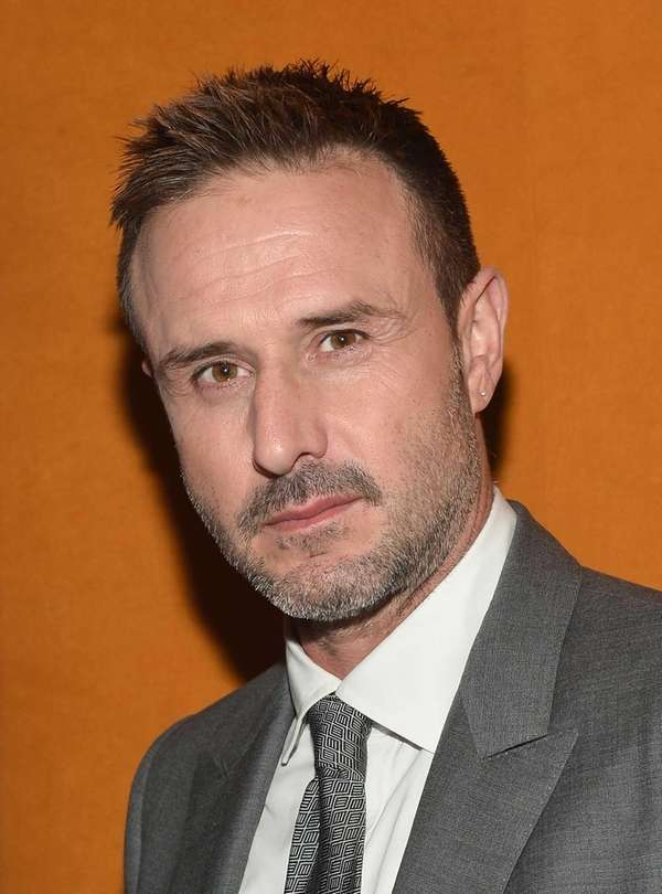 David Arquette before speaking on an education panel,