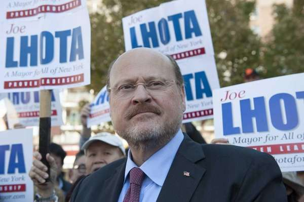 Republican mayoral nominee Joe Lhota campaigns on Main