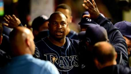Delmon Young of the Tampa Bay Rays celebrates