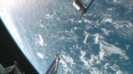 This framegrabbed image provided by NASA-TV shows the