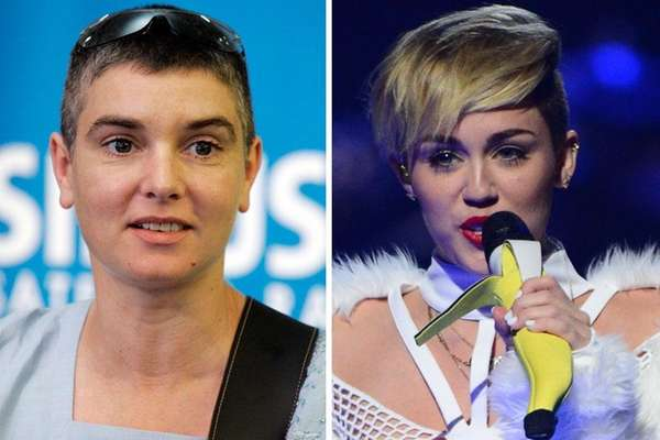 Sinead O'Connor, left, and Miley Cyrus.