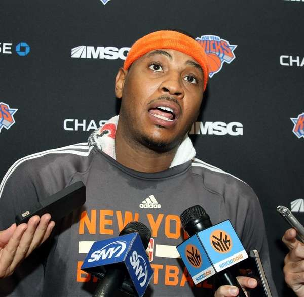 Carmelo Anthony at the New York Knicks practice