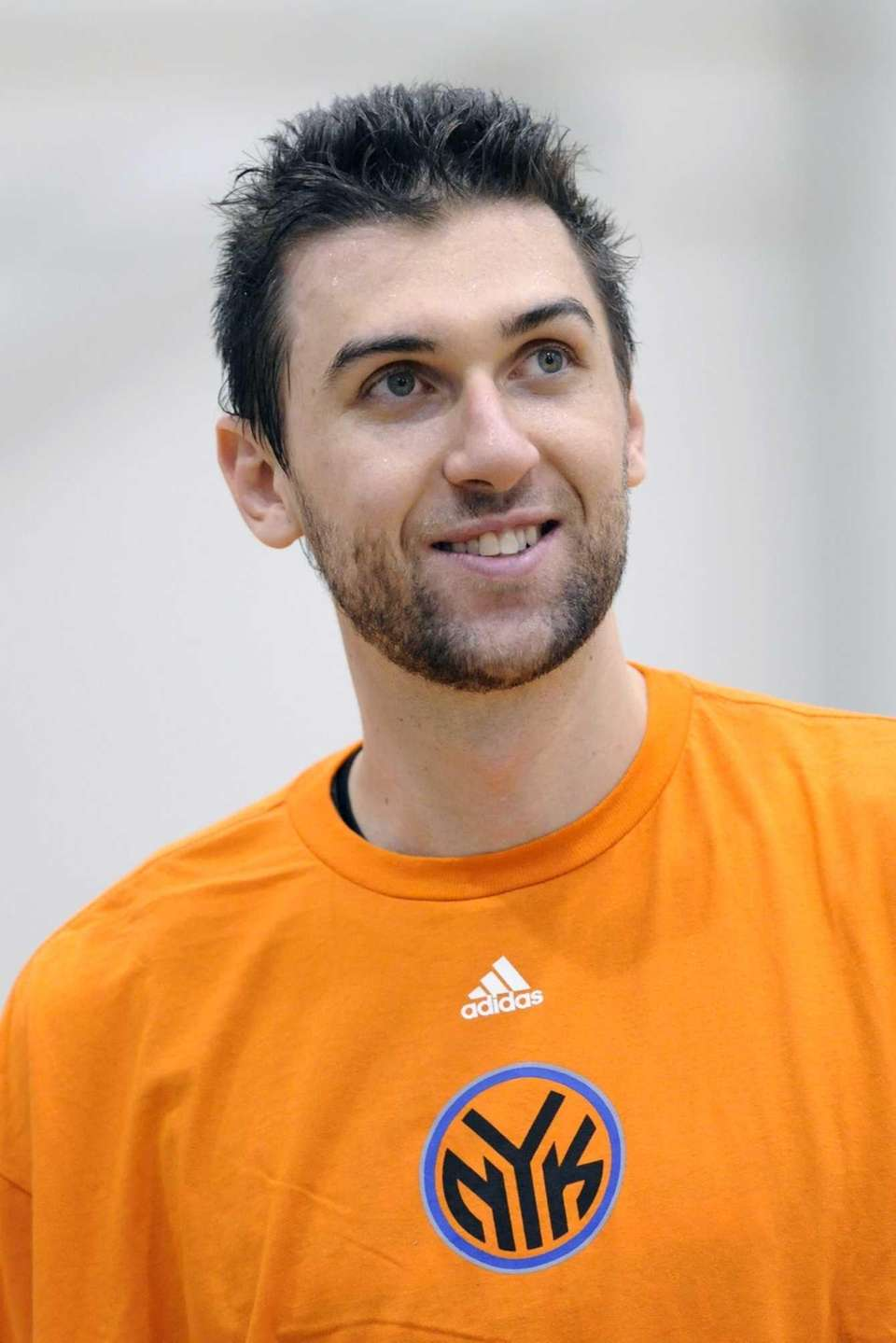 Andrea Bargnani looks on after practice during training
