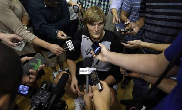 Nets' Andrei Kirilenko speaks with the media during