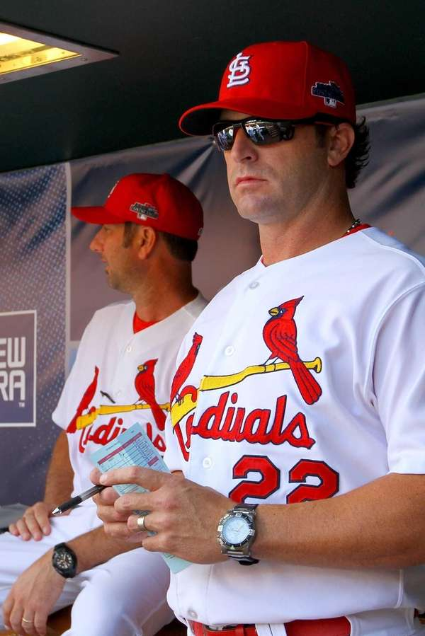 St. Louis Cardinals manager Mike Matheny looks on
