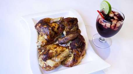 Pollo a la Brasa, is marinated and rotisserie-roasted