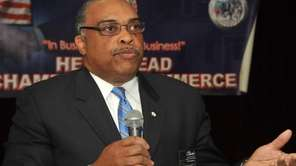 Hempstead mayoral candidate Lance Clarke stands to answer