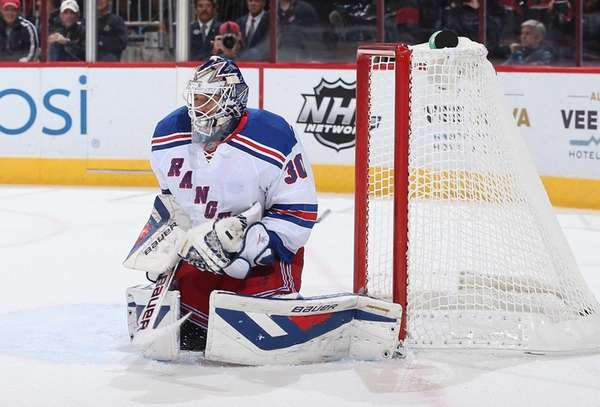 Goaltender Henrik Lundqvist of the Rangers makes save