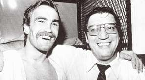Islanders coach Al Arbour, right, and Bob Nystrom,