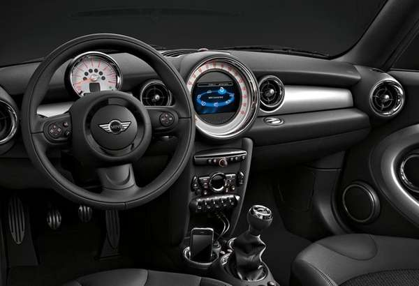 The interior of a 2014 Mini Clubman features