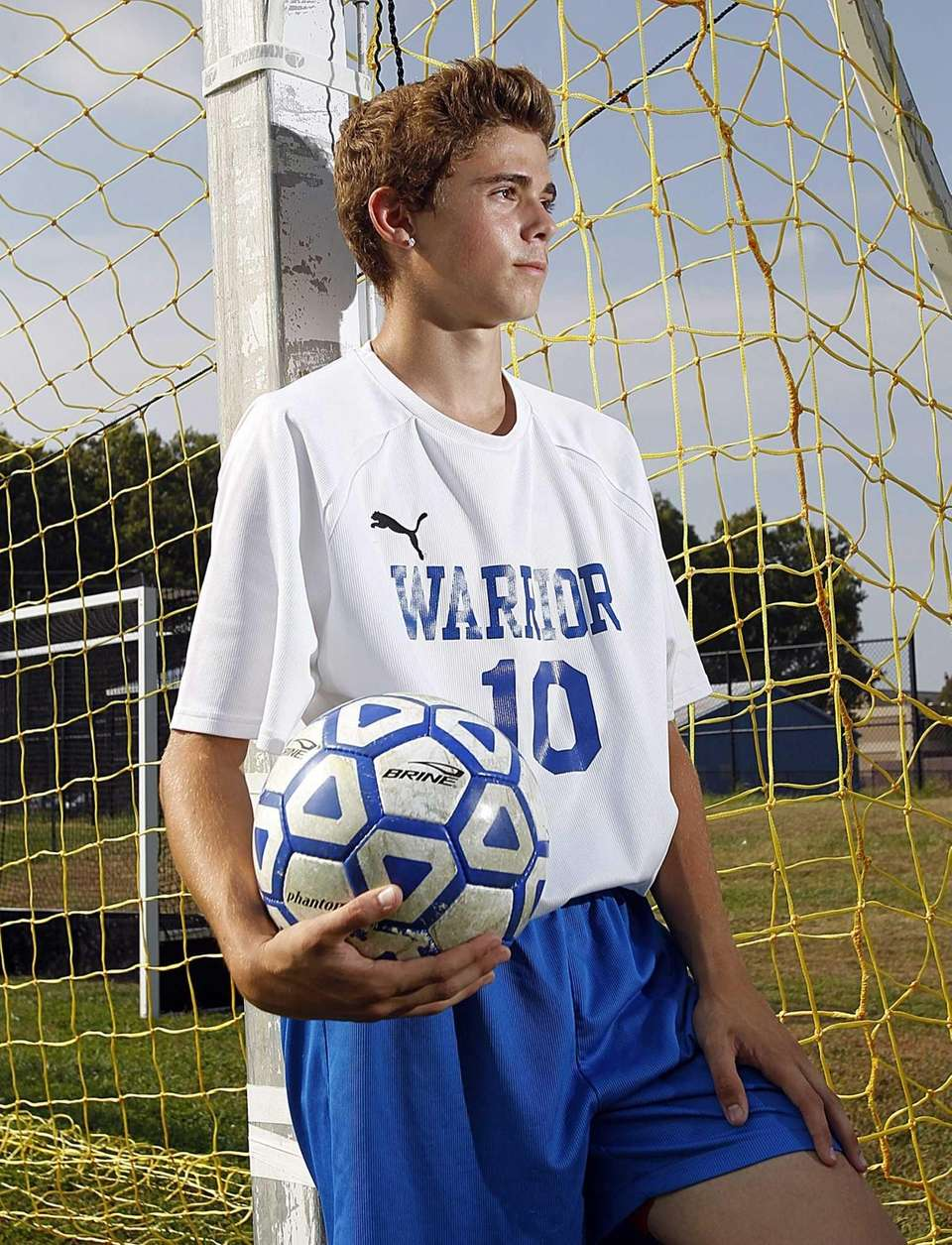 Comsewogue varsity soccer player James Thristino poses for