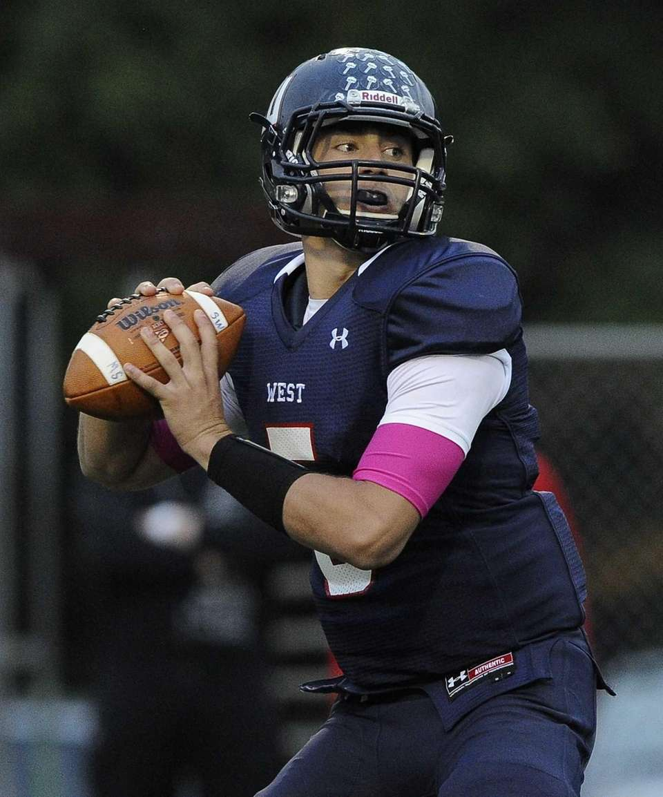 Smithtown West quarterback Matthew K. Heldberg Jr. looks