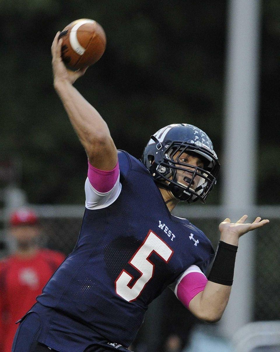 Smithtown West quarterback Matthew K. Heldberg Jr. passes