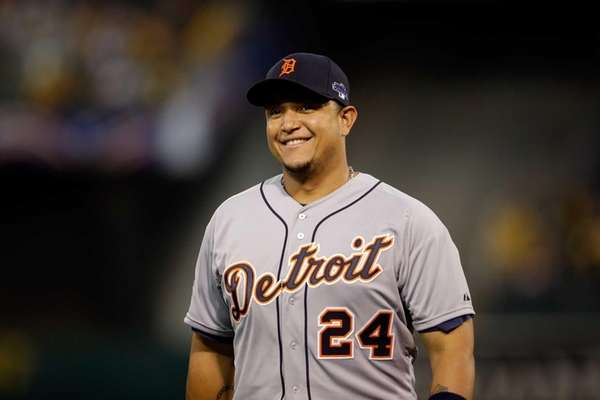 Miguel Cabrera of the Detroit Tigers looks on