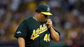Bartolo Colon #40 of the Oakland Athletics looks