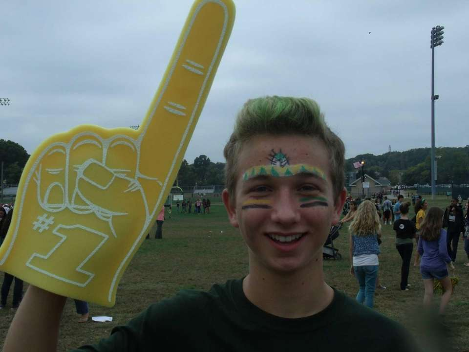 Sophomore Connor Meehan shows his school spirit during