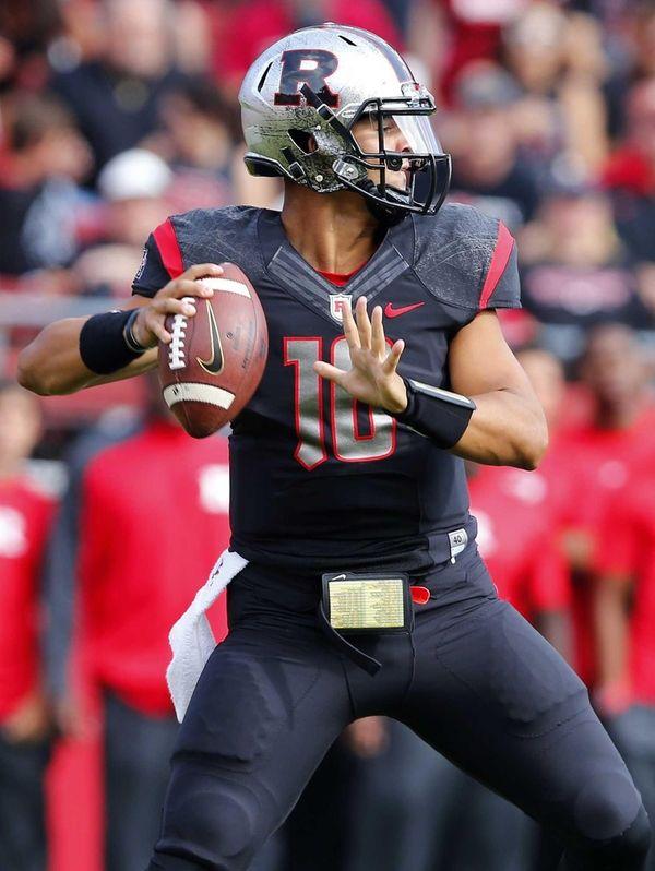 Rutgers quarterback Gary Nova attempts a pass against