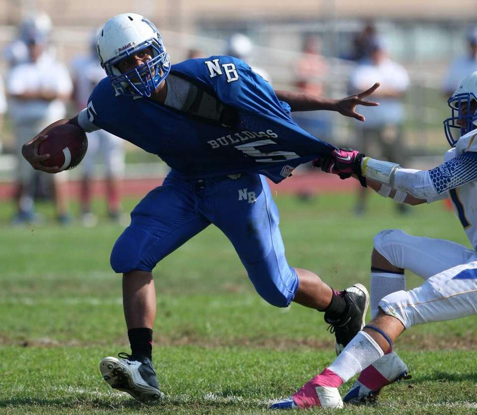 North Babylon's Brandon Sobotker tries to get out
