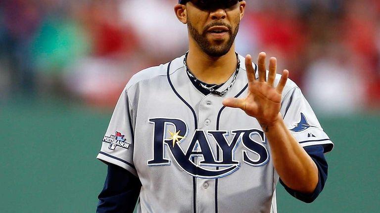 Tampa Bay Rays pitcher David Price looks on