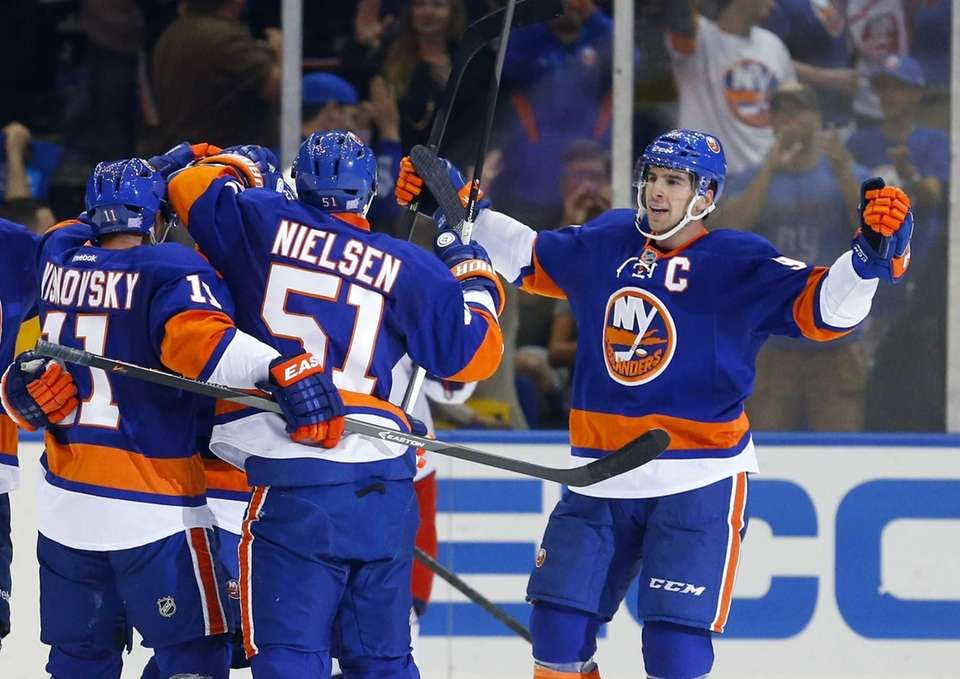Lubomir Visnovsky celebrates his second-period power-play goal against