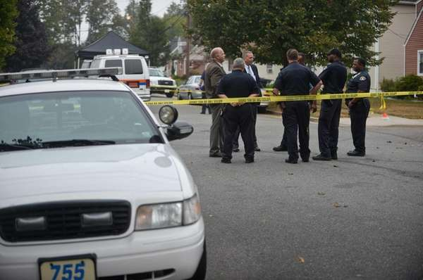 Nassau County Police and Hempstead Police investigate a