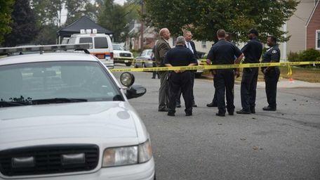 Nassau County Police and Hempstead Police investigate a