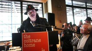 Guitar legend Carlos Santana speaks at the Save
