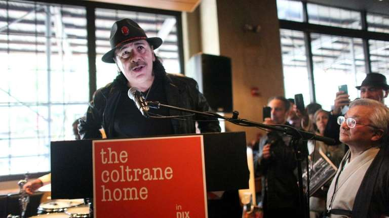 Guitar legend Carlos Santana speaks at the Save