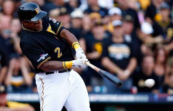 Pittsburgh Pirates outfielder Marlon Byrd hits a two-run