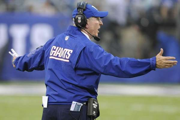 Giants head coach Tom Coughlin reacts during the