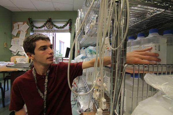 Hunter Sola works in the Medford Multicare Center