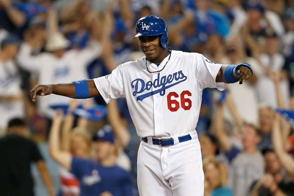 LOS ANGELES, CA - OCTOBER 06: Yasiel Puig
