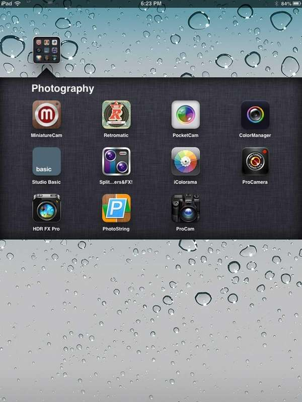 After placing iPad applications in folders, click the
