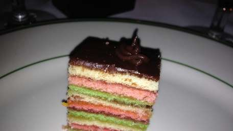 Rainbow cookies are among the desserts at J.