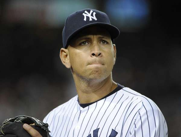 Alex Rodriguez looks on during a game against