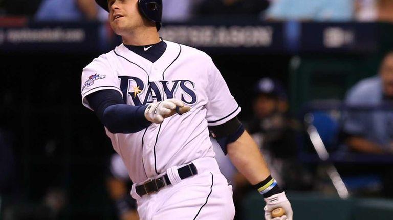 Evan Longoria of the Tampa Bay Rays hits