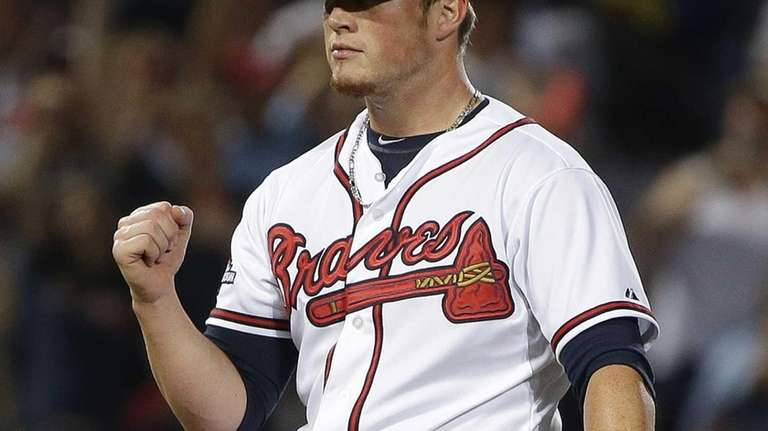 Atlanta Braves relief pitcher Craig Kimbrel celebrates after