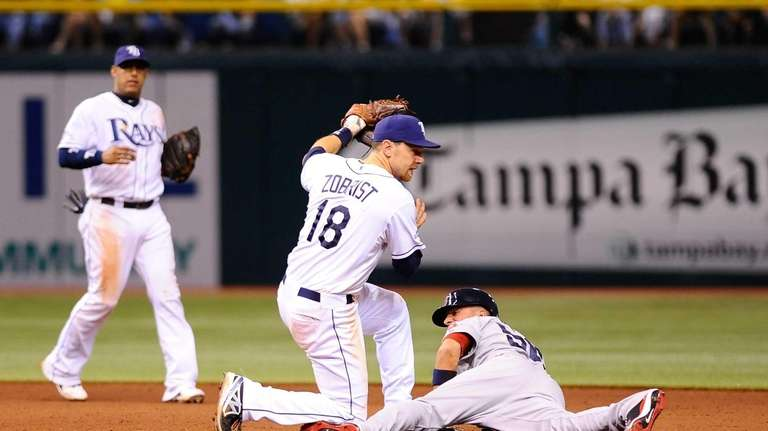 The Tampa Bay Rays' Ben Zobrist tries to