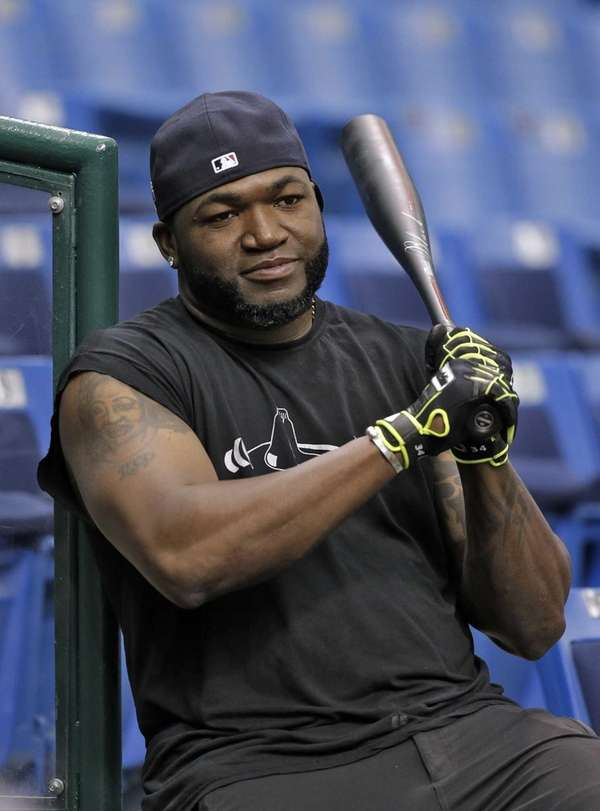 Boston Red Sox's David Ortiz watches his teammates