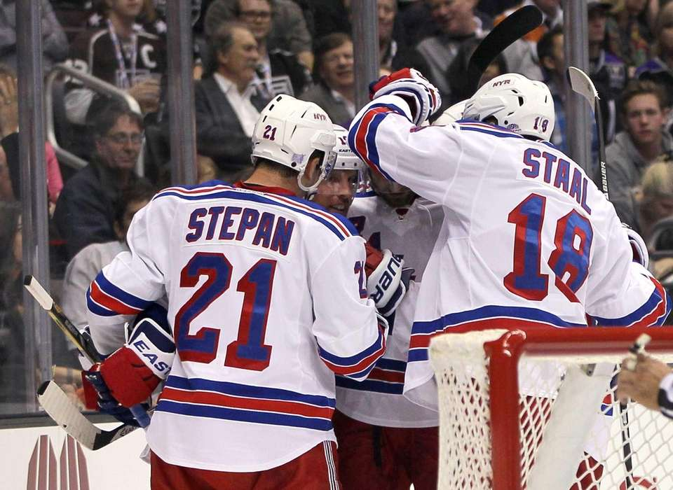 From left, Derek Stepan #21, Brad Richards #19,