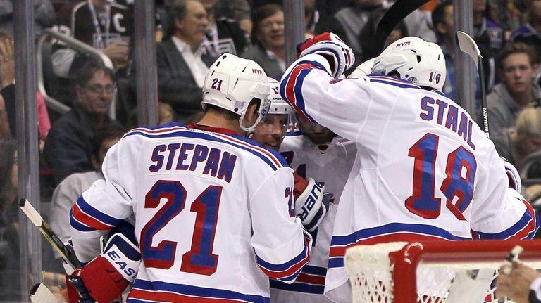 From left, Derek Stepan #21, Brad Richards #19,