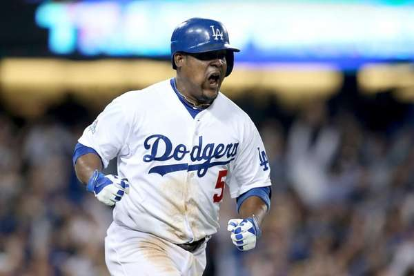 Juan Uribe #5 of the Los Angeles Dodgers