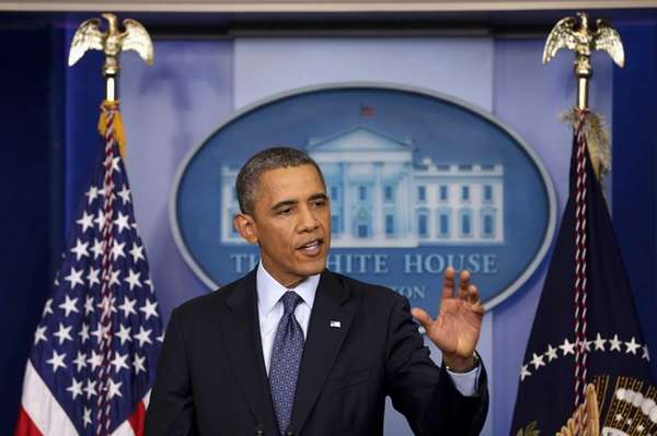 President Barack Obama speaks in the Brady Press