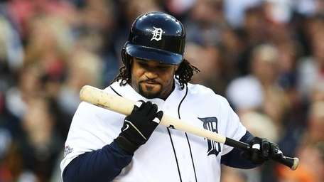 Prince Fielder of the Detroit Tigers reacts in